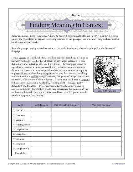 "context clues activities See More This worksheet uses a passage from ""Jane Eyre"" to develop your student s skills with"