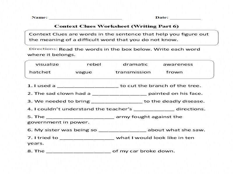 Context Clues Worksheets Ereading Dinocroinfo. Context Clues Worksheets Free Printable For. Worksheet. Ereading Worksheets At Mspartners.co