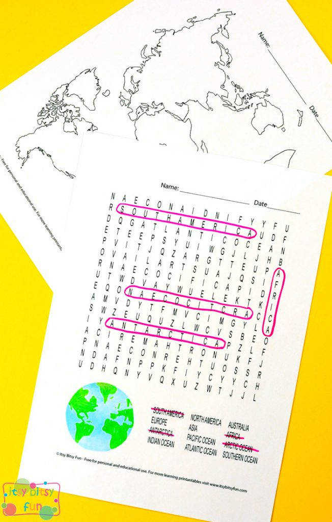 Continents and oceans free printable worksheets for kids