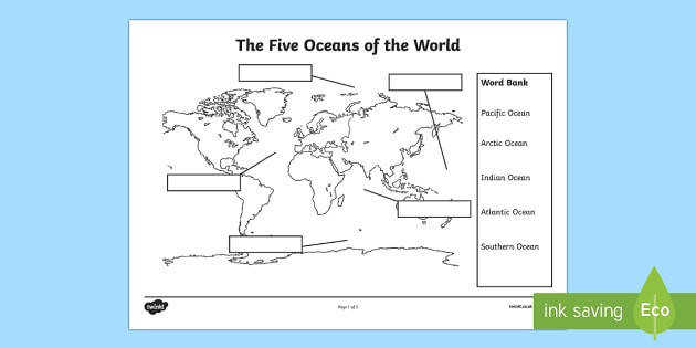 The Five Oceans Labelling Map Activity Sheet The Arctic Polar Regions north pole