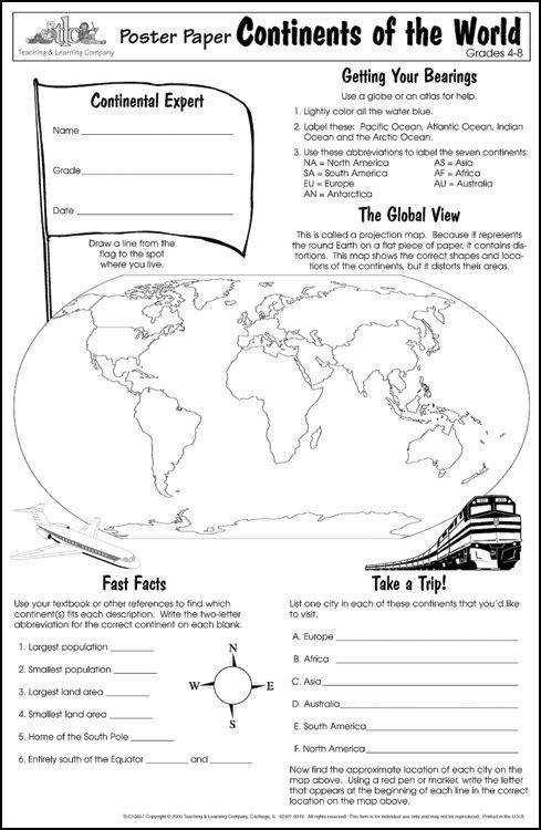 Geography Blog Geography Worksheets Continents and Oceans