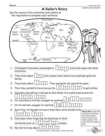Columbus Day Worksheet oceans and continents