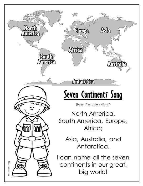 """Free printable Seven Continents Song sung to the tune of """"Ten Little Indians"""""""