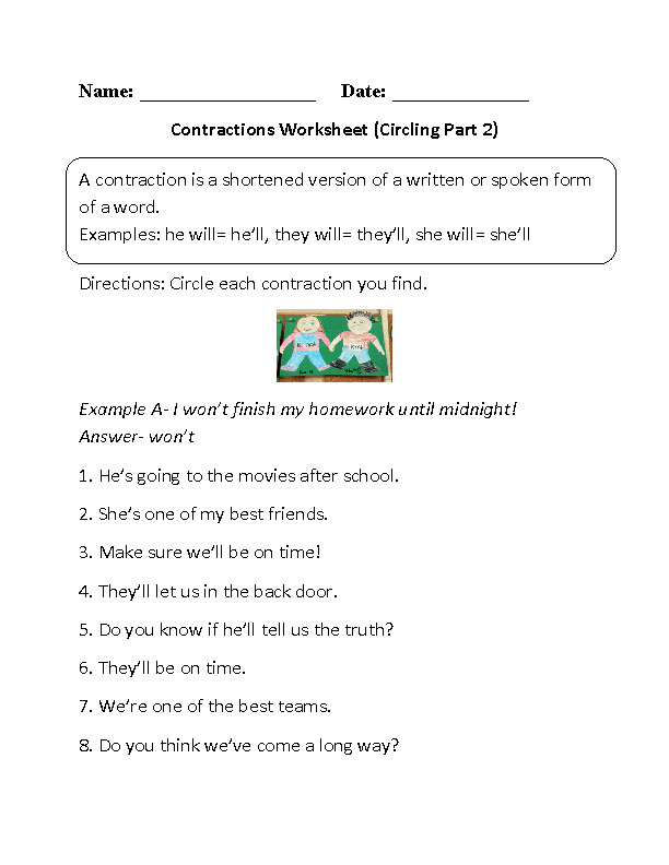 Circling Contractions Worksheet Part 2