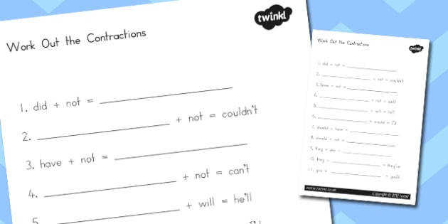 Contractions Worksheet 2 contraction literacy words english