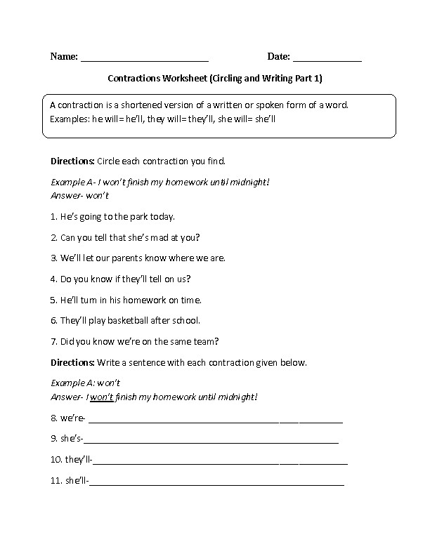 Contraction Worksheet