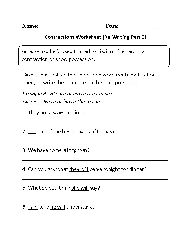 Re Writing Contractions Worksheet Part 2