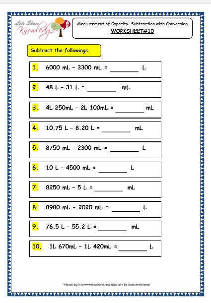 Grade 3 Maths Worksheets 13 2 Measurement of Capacity Subtraction with Conversion