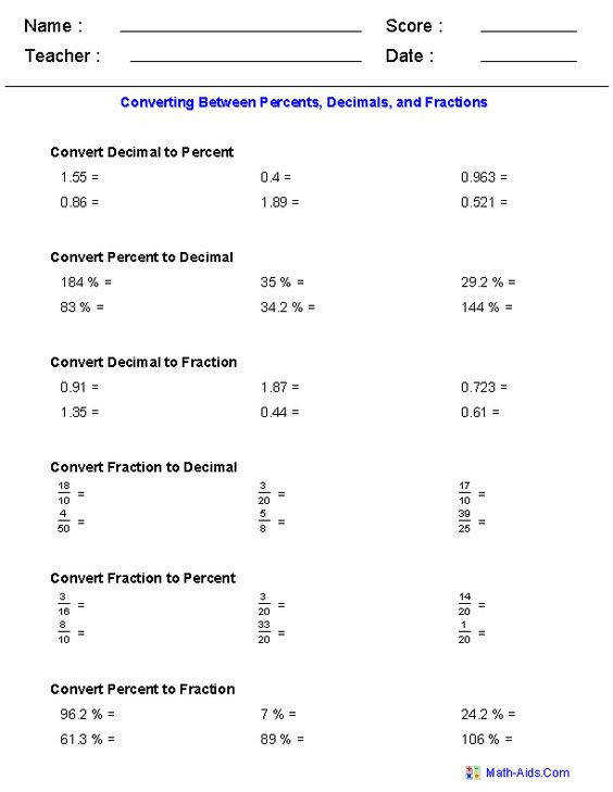 as Decimals · Fractions Worksheets