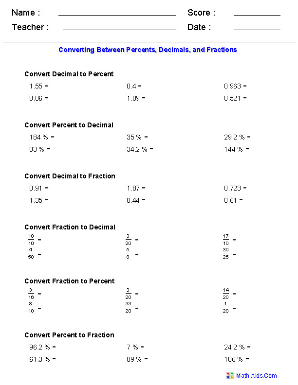 Converting Between Percents Decimals and Fractions Worksheets