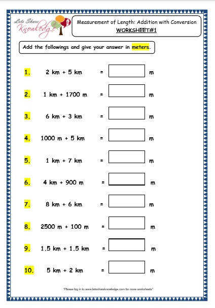 Measurement of Length Addition with Conversion Worksheet