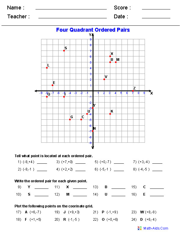 Coordinate Worksheets