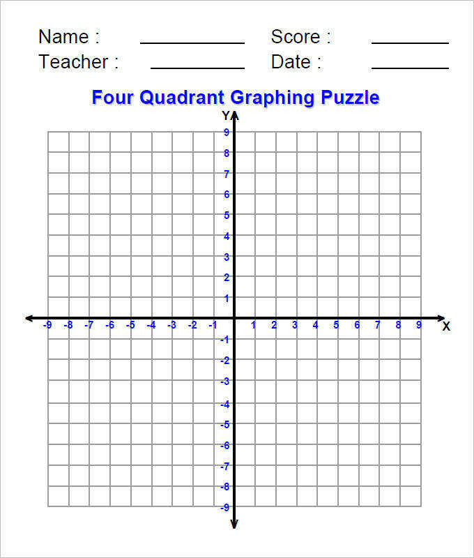 Four Quadrant Coordinate Geometry Worksheet Template