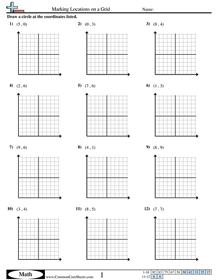 Marking Locations on a Grid worksheet