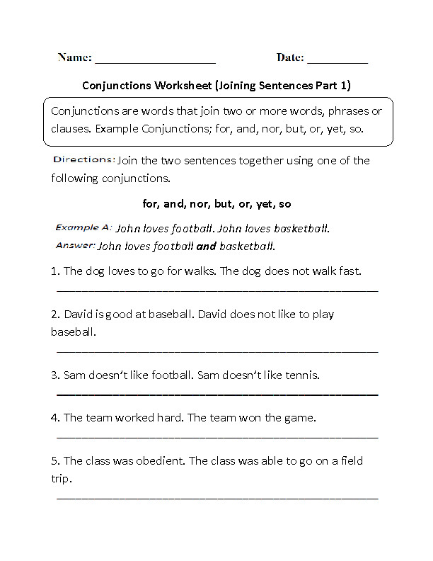 Conjunctions Worksheet Joining Sentences Part 1