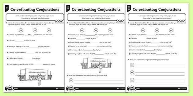 Coordinating Conjunctions Differentiated Activity Sheet Pack Connectives worksheet