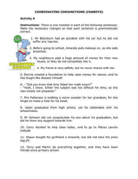 Coordinating Conjunctions FANBOYS 4th 8th Grade Worksheet