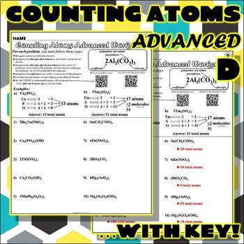 Worksheet Counting Atoms ADVANCED Version D