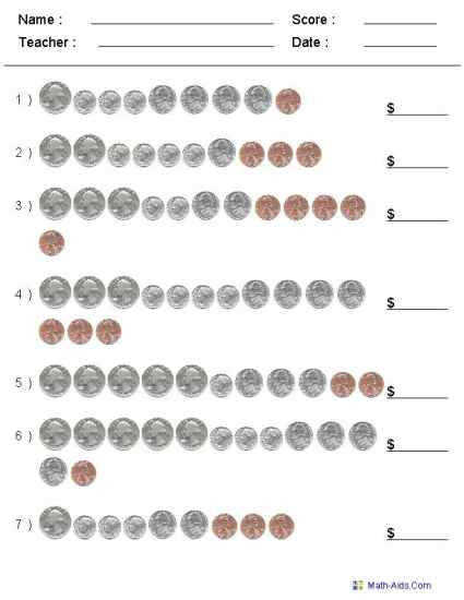 Counting Coins Money Worksheets