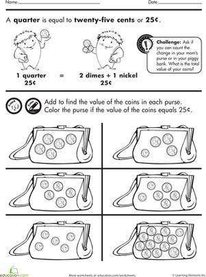 First Grade Math Worksheets Coin Purse Counting