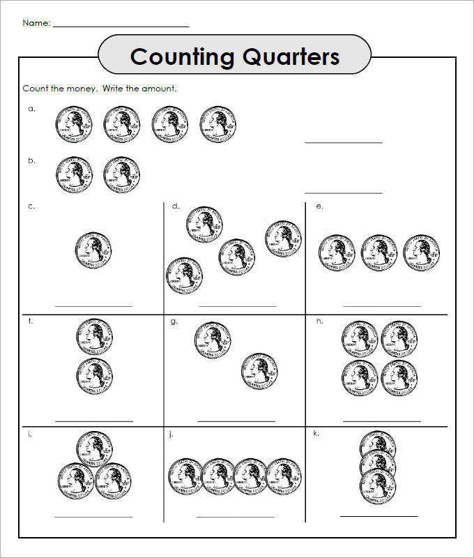 Counting Quarters Money Worksheets For Kids Template