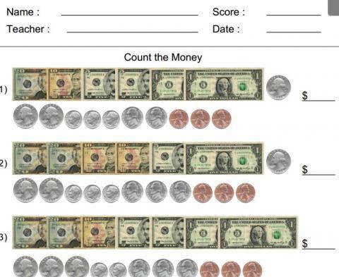 Count the money worksheet generator