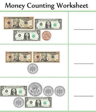 Money Counting Worksheets · Math Worksheets Counting Money