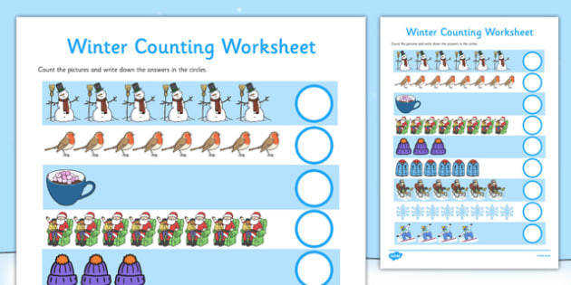 My Counting Worksheet Winter Counting worksheet winter counting activity