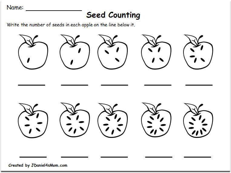 Counting Worksheets 1 10 with an Apple Theme Counting Seeds