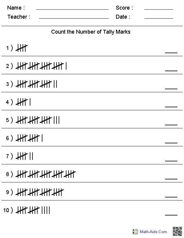 Counting the Number of Talley Marks Worksheets