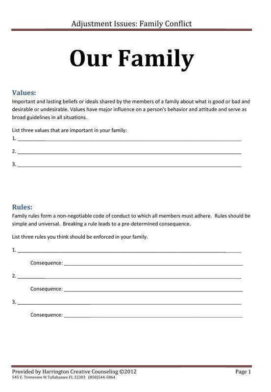 Family Rules and Values · Counseling WorksheetsCounseling