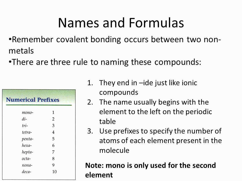 Naming Molecular pounds Worksheet Fresh Naming Molecular Pounds Covalent Bonding Names and formulas