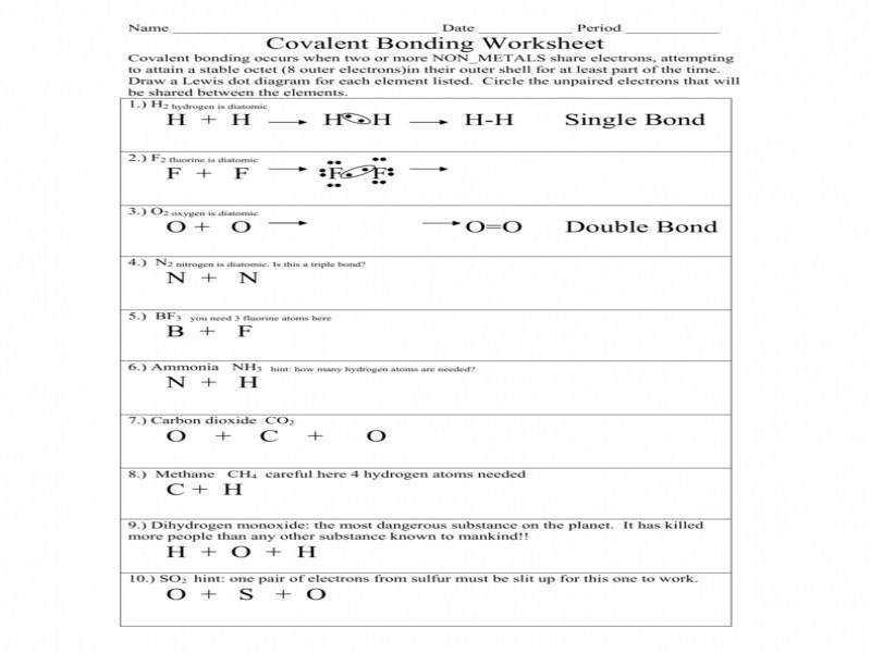 Source · Chemistry Chapter 8 Covalent Bonding Worksheet Answers