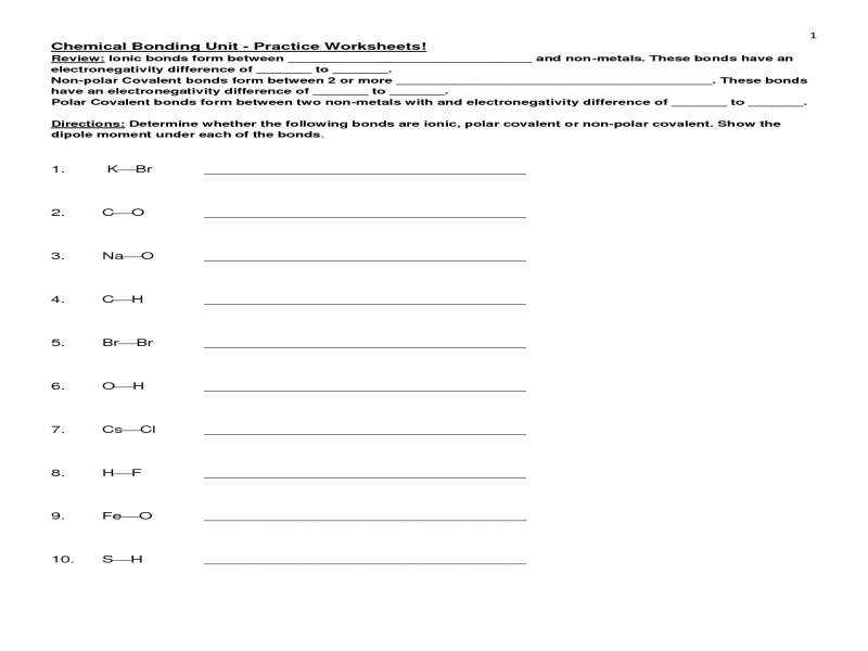 Covalent And Ionic Bonds Worksheet Worksheets