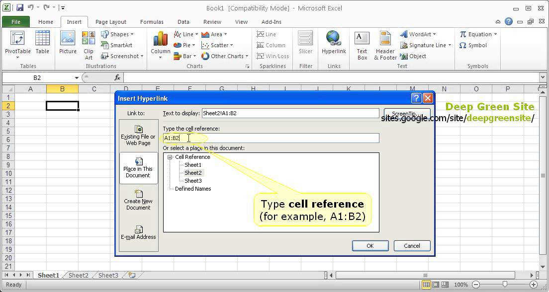 MS Excel 2010 How to create hyperlink to worksheet cells range within workbook