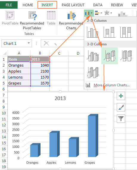 Creating a chart based on the first sheet