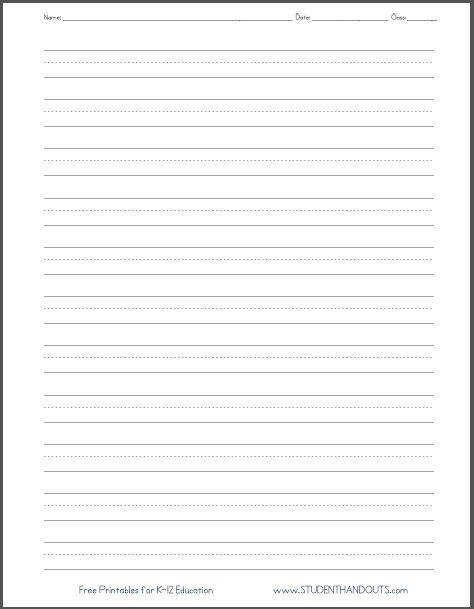 Blank Lined Paper Handwriting Practice Worksheet Student Handouts