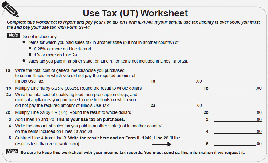 sales tax worksheet line 22 of your illinois state taxes il 1040 or reporting sales
