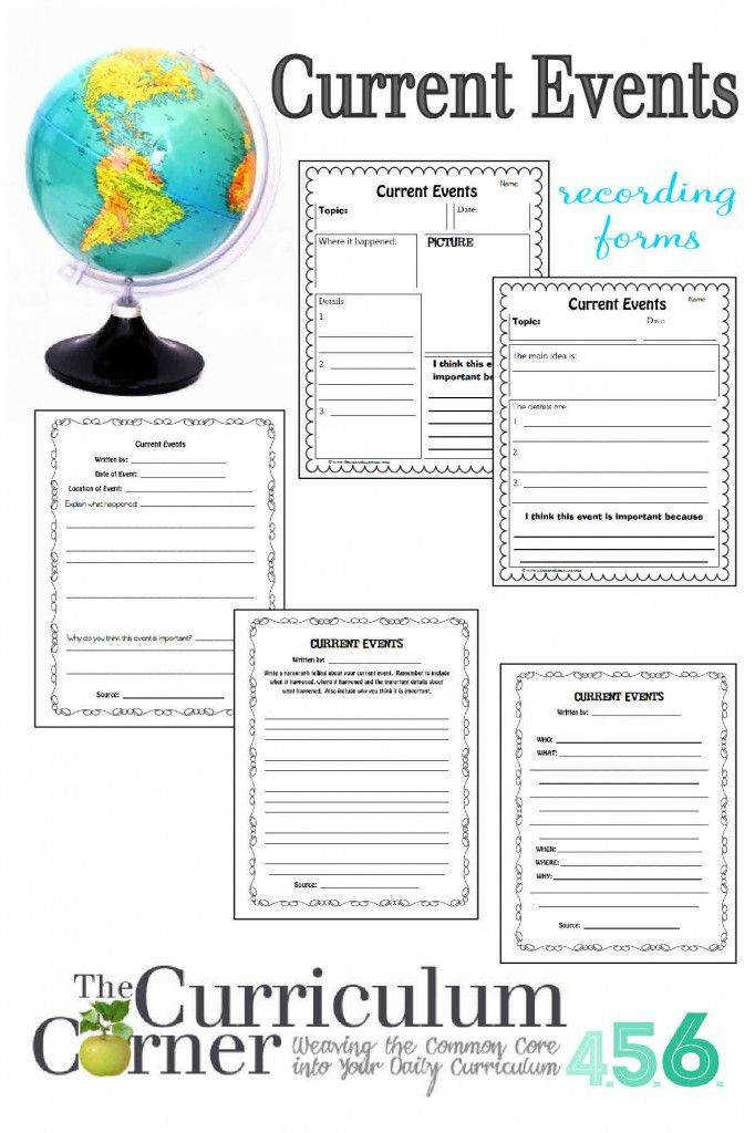 Current Events Recording Forms by The Curriculum Corner Free