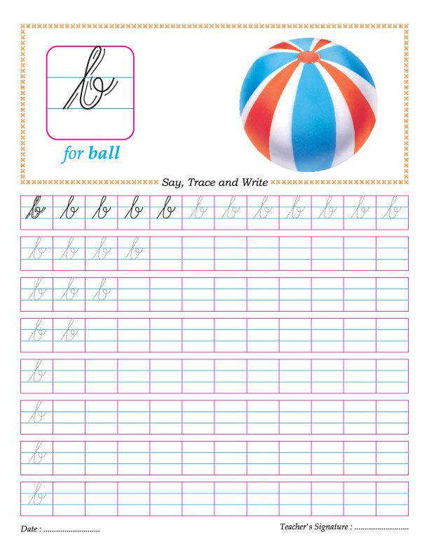Cursive small letter b practice worksheet