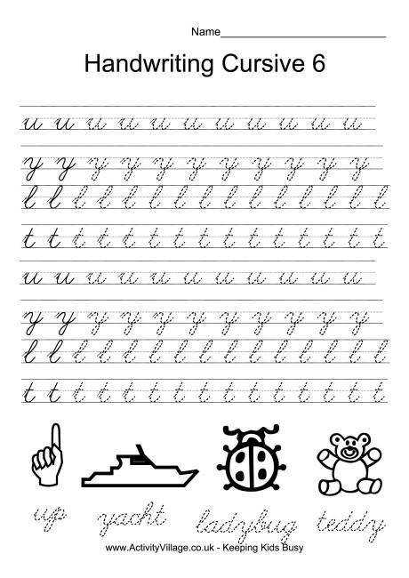 Print these cursive handwriting worksheets to use in the classroom or home for extra handwriting practice Each worksheet looks at 3 or 4 letters using