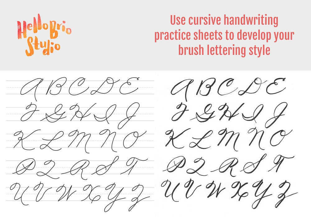 Use the free able cursive worksheets to practice your brush lettering by tracing using a lightbox