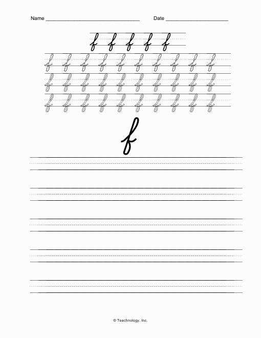 D nealian Cursive Letters Lower Case Letter F Practice Worksheet inside