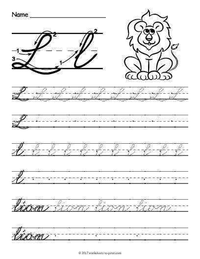 Help kids learn how to write both an uppercase and a lowercase cursive letter l with this fun handwriting worksheet featuring a lion