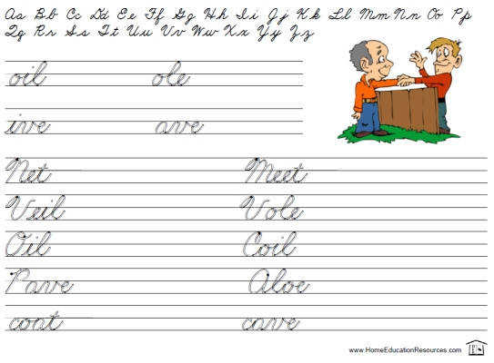 free printable cursive handwriting worksheet easy beginning words letters alphabet sheet