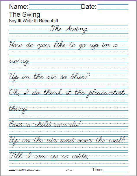 Printable Handwriting Worksheets For Kids Manuscript and Cursive Printable Handwriting Worksheets