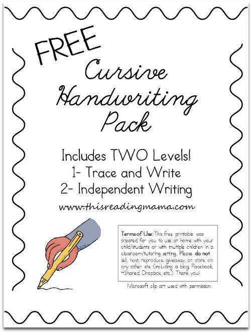 Free Cursive Handwriting Pack This Reading Mama