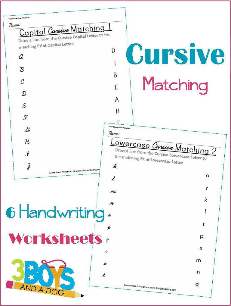 Cursive and Print Letter Matching Printable Worksheets