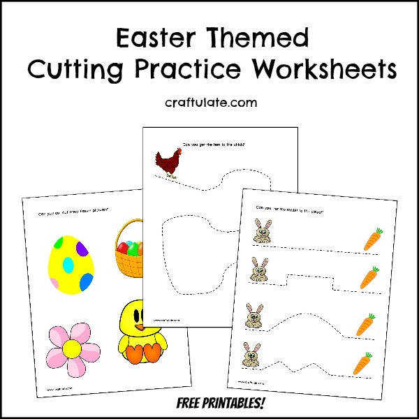 Easter Cutting Practice Worksheets free printables