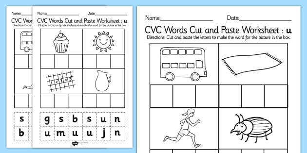CVC Words Cut and Paste Worksheets u CVC worksheets CVC words literacy